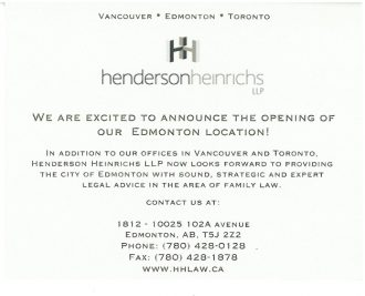 Henderson Heinrichs LLP Edmonton Office Announcement Card